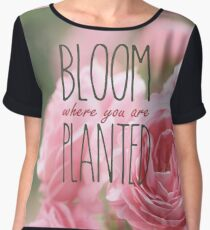 Bloom Where You Are Planted Pink Roses 2 Women's Chiffon Top