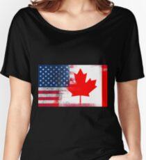 2cf1240b3da8 Canadian American Half Canada Half America Flag Women s Relaxed Fit T-Shirt