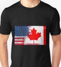 Canadian American Half Canada Half America Flag T-Shirt