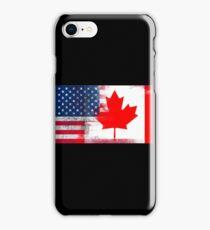 Canadian American Half Canada Half America Flag iPhone Case/Skin