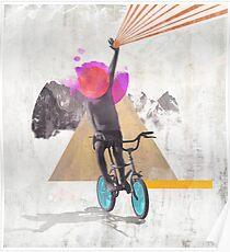 Rainbow child riding a bike Poster