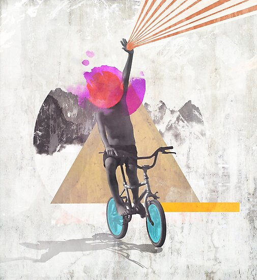 Rainbow child riding a bike by mikath