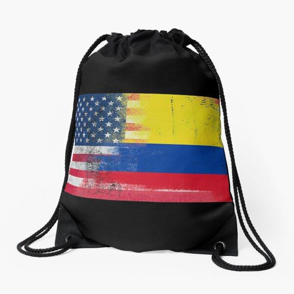 Colombian American Half Colombia Half America Flag Drawstring Bag