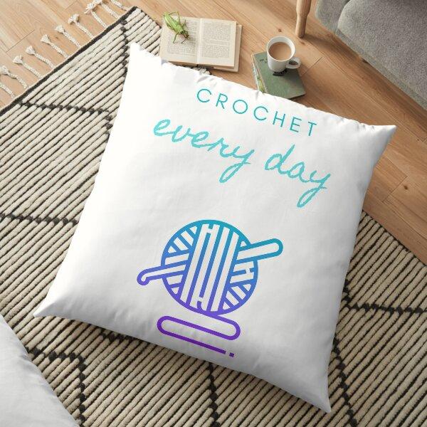 Crochet Every Day in white Floor Pillow