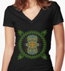 Psychedelic cannabis jungle spirit Women's Fitted V-Neck T-Shirt