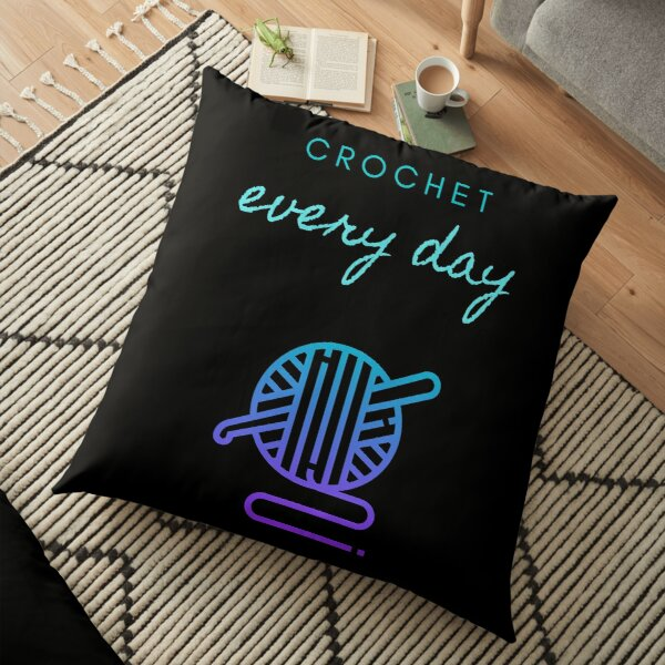 Crochet Every Day in black Floor Pillow