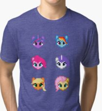 My Little Pony 8 Bit Characters Tri-blend T-Shirt