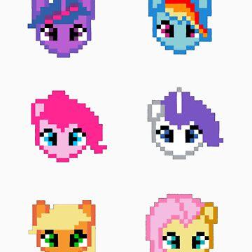 My Little Pony 8 Bit Characters by Dangelus974