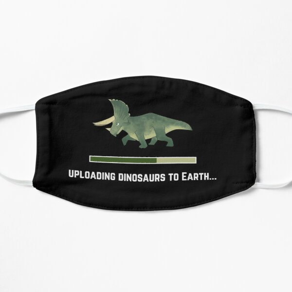 Uploading Dinosaurs to Earth Kids (Green Triceratops) Flat Mask