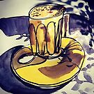 latte on a daffodil yellow saucer with real and painted shadows by Evelyn Bach