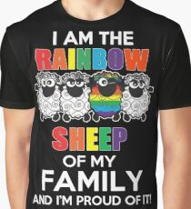 Funny Lesbian - I Am The Rainbow Sheep Of My Family And I'm Proup Of It Tshirts Lesbian Gag Gifts Graphic T-Shirt