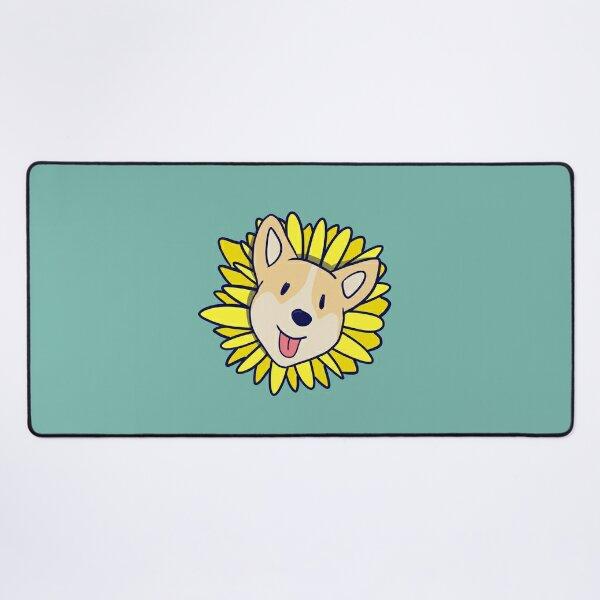 Happy Corgi Dog Sunflower Desk Mat