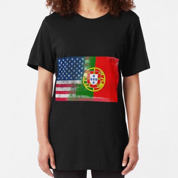 Portuguese American Half Portugal Half America Flag Slim Fit T-Shirt