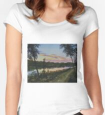 River Sunset Women's Fitted Scoop T-Shirt