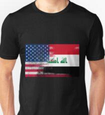 Iraqi American Half Iraq Half America Flag Unisex T-Shirt