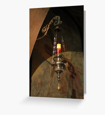 old candelabrum in church Greeting Card