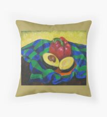 Avocado and Pepper Throw Pillow