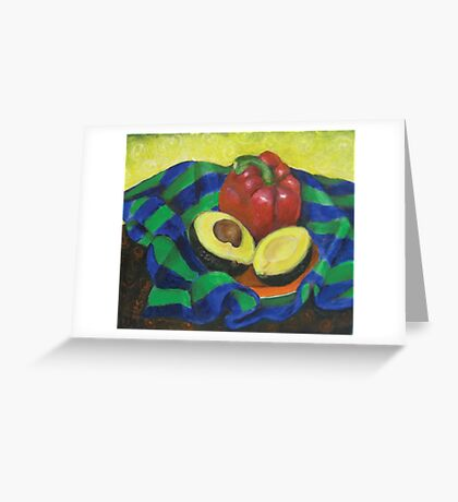 Avocado and Pepper Greeting Card