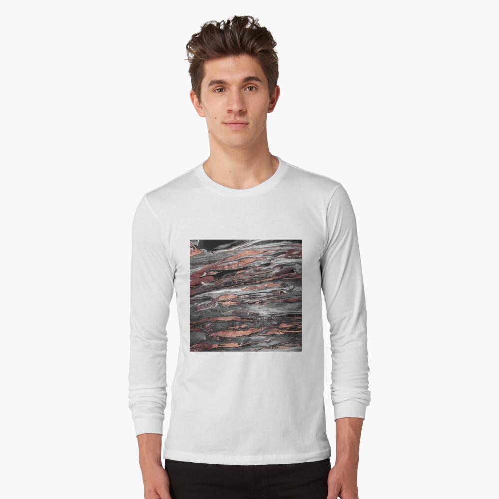 Moderne roségold abstrakte marmorierte Farbe Langarmshirt
