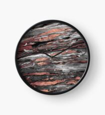 Modern rose gold abstract marbleized paint Clock