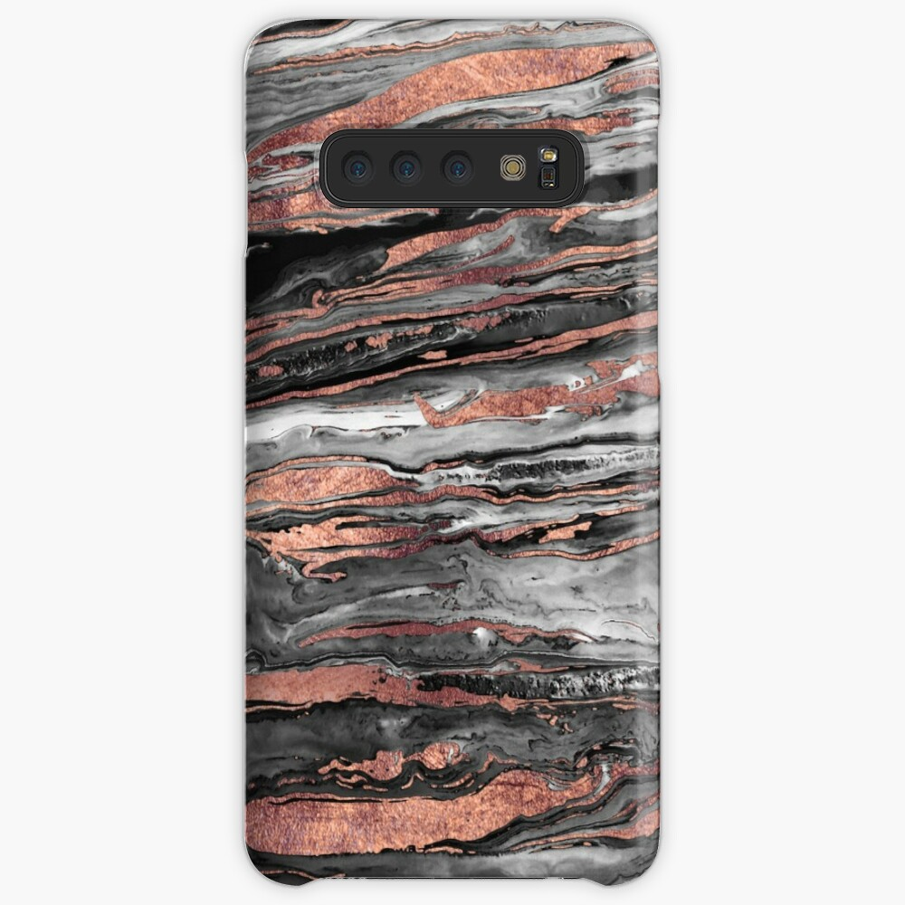 Modern rose gold abstract marbleized paint Case & Skin for Samsung Galaxy