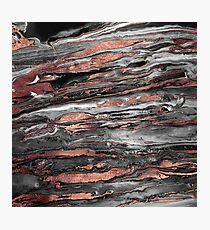 Modern rose gold abstract marbleized paint Photographic Print