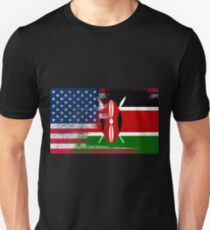 Kenyan American Half Kenya Half America Flag T-Shirt