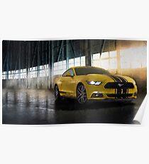 Yellow Mustang Poster