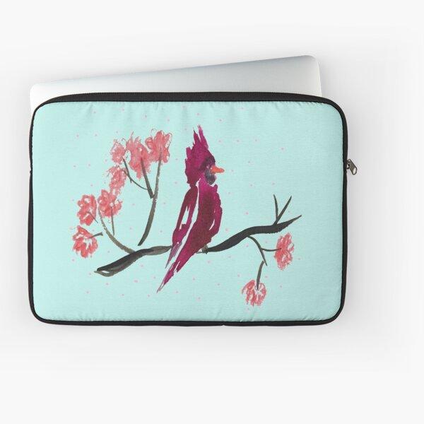 cardinal in a cherry tree Laptop Sleeve