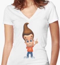 Jimmy Neutron Women's Fitted V-Neck T-Shirt