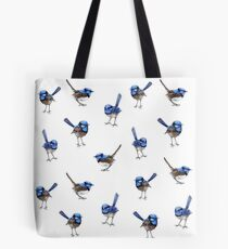 Blue Wrens, Scattered on White Tote Bag