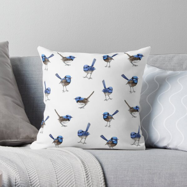 Blue Wrens, Scattered on White Throw Pillow