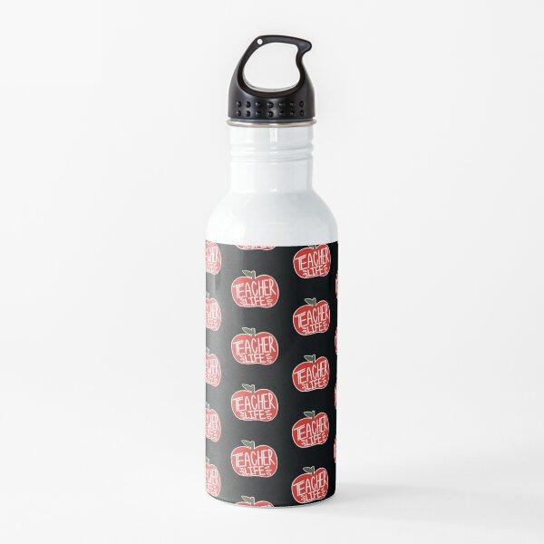 Teacher Life Hand Lettered Apple Design - Sweet Fern Design Co. Water Bottle