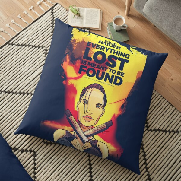 Classic Female Movie Character Illustration & Quote Floor Pillow