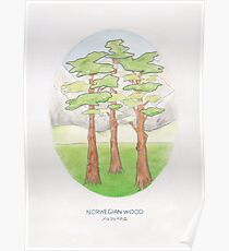 Haruki Murakami's Norwegian Wood // Illustration of a Forest and Mountains in Pencil Poster