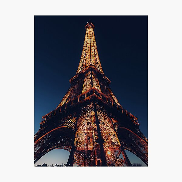 Eiffel Tower illuminated at night - Paris (France) Photographic Print