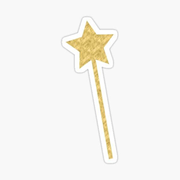 Gold magic fairy wand metallic effect transparent image Sticker
