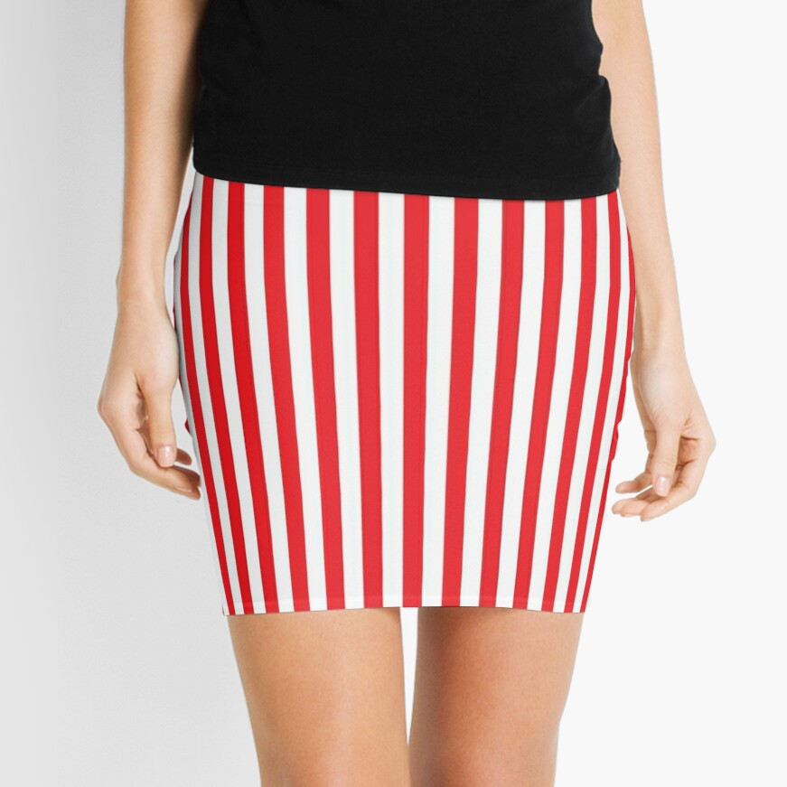 RED WHITE VERTICAL STRIPE Mini Skirt