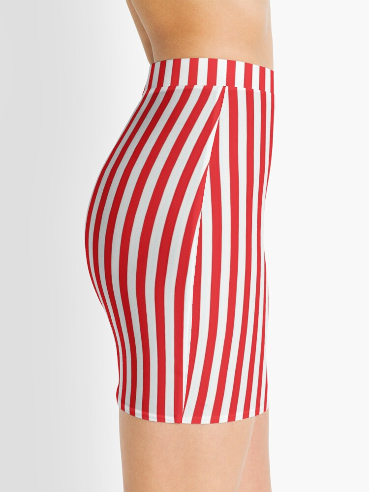 Alternate view of RED WHITE VERTICAL STRIPE Mini Skirt