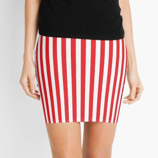 RED WHITE VERTICAL STRIPE Mini Skirt