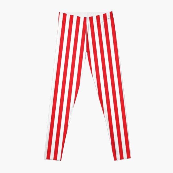 RED WHITE VERTICAL STRIPE Leggings