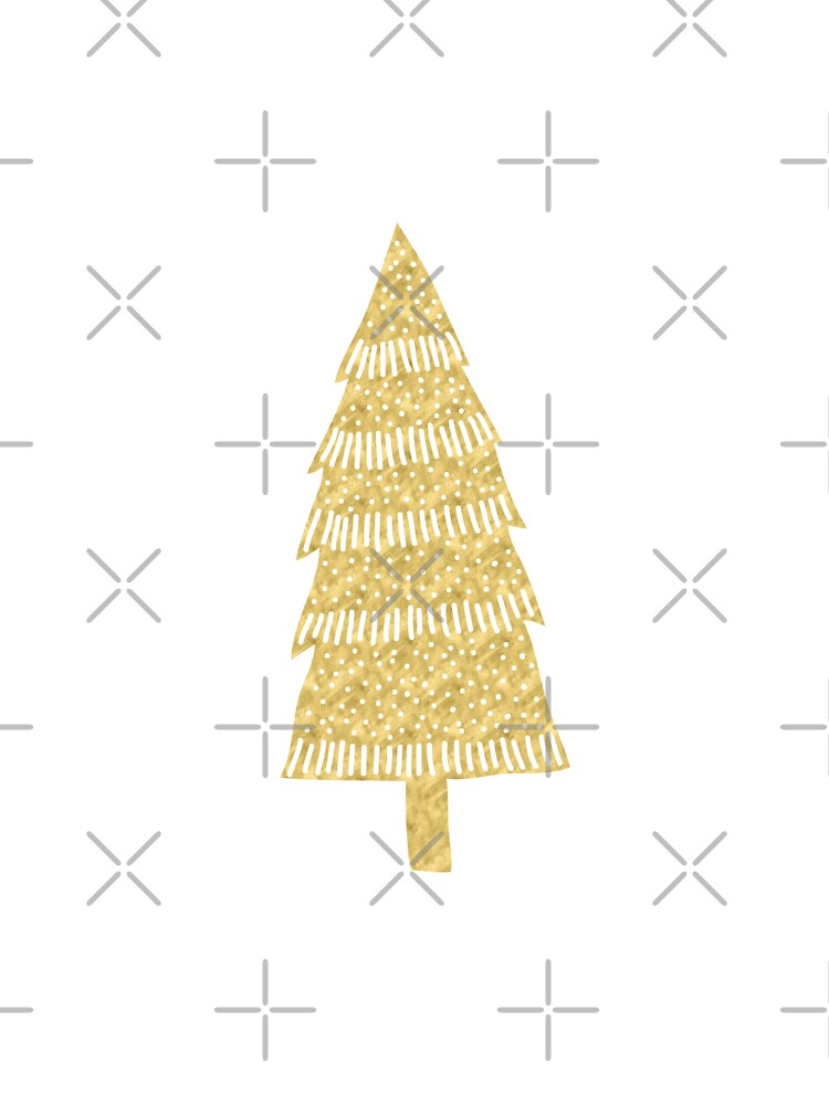 Christmas Tree Transparent Background.Gold Christmas Tree Metallic Foil Effect Transparent Background Baby One Piece
