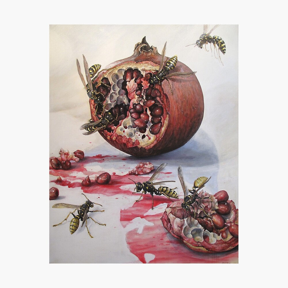 Granatapfel und Papierwespen Fotodruck