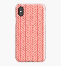 Red hand drawn knitting braids pattern iPhone Case/Skin