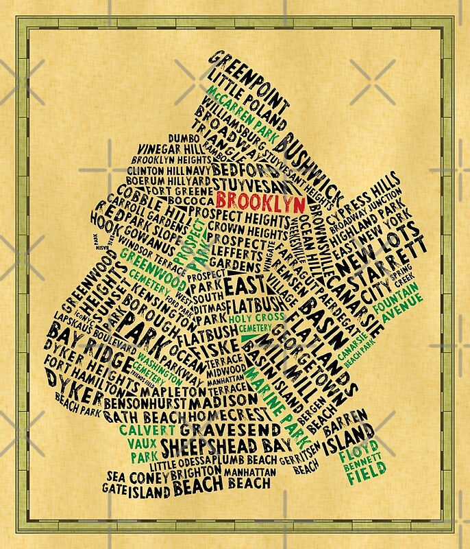 Calendar Typography Map : Quot brooklyn new york typography map by iconyc redbubble