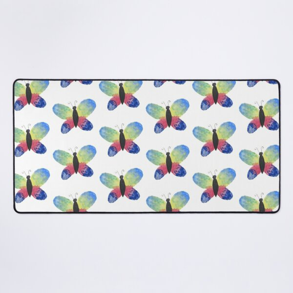 Watercolor Paint Butterfly Blue Yellow Red Desk Mat