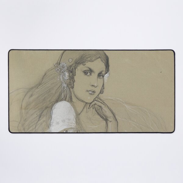 The Artists Daughter Jaroslava Muchova Drawing by Alphonse Mucha Desk Mat