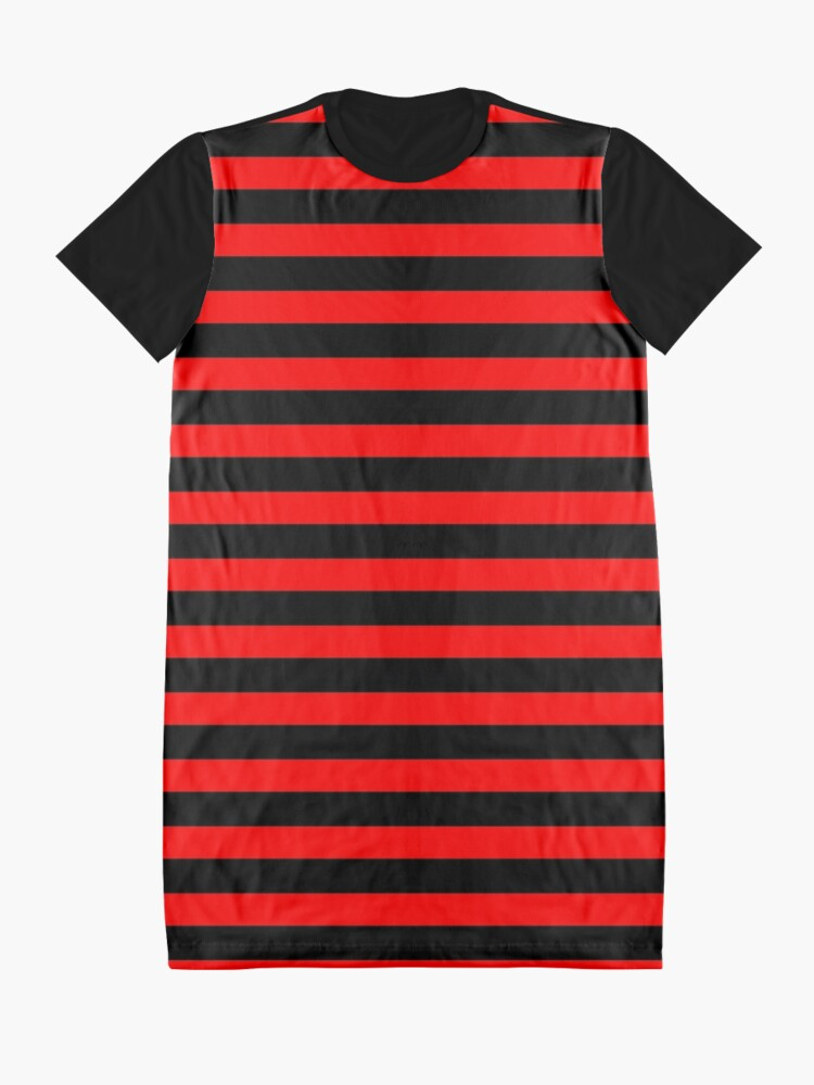 Alternate view of Thin Horizontal Red Stripes on Black Easy Simple Costume Graphic T-Shirt Dress
