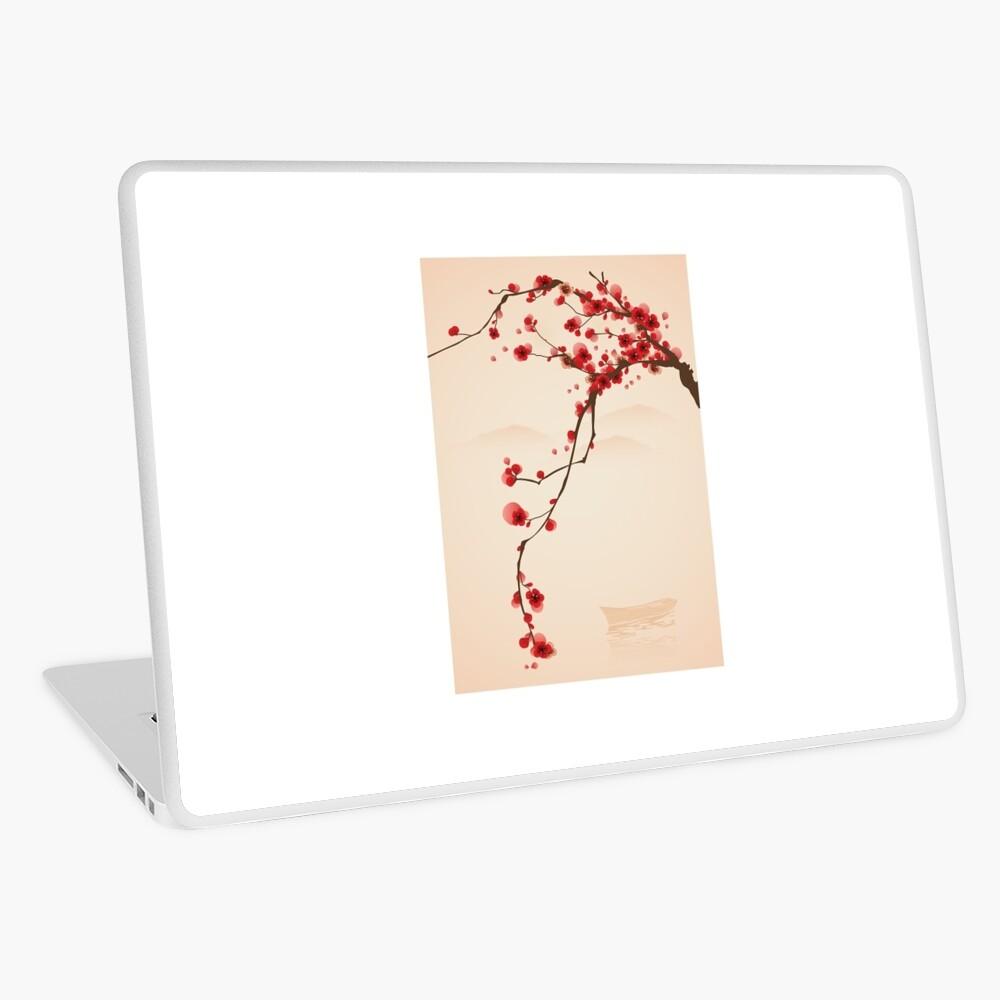 Wunderlicher roter Kirschblüten-Baum Laptop Folie