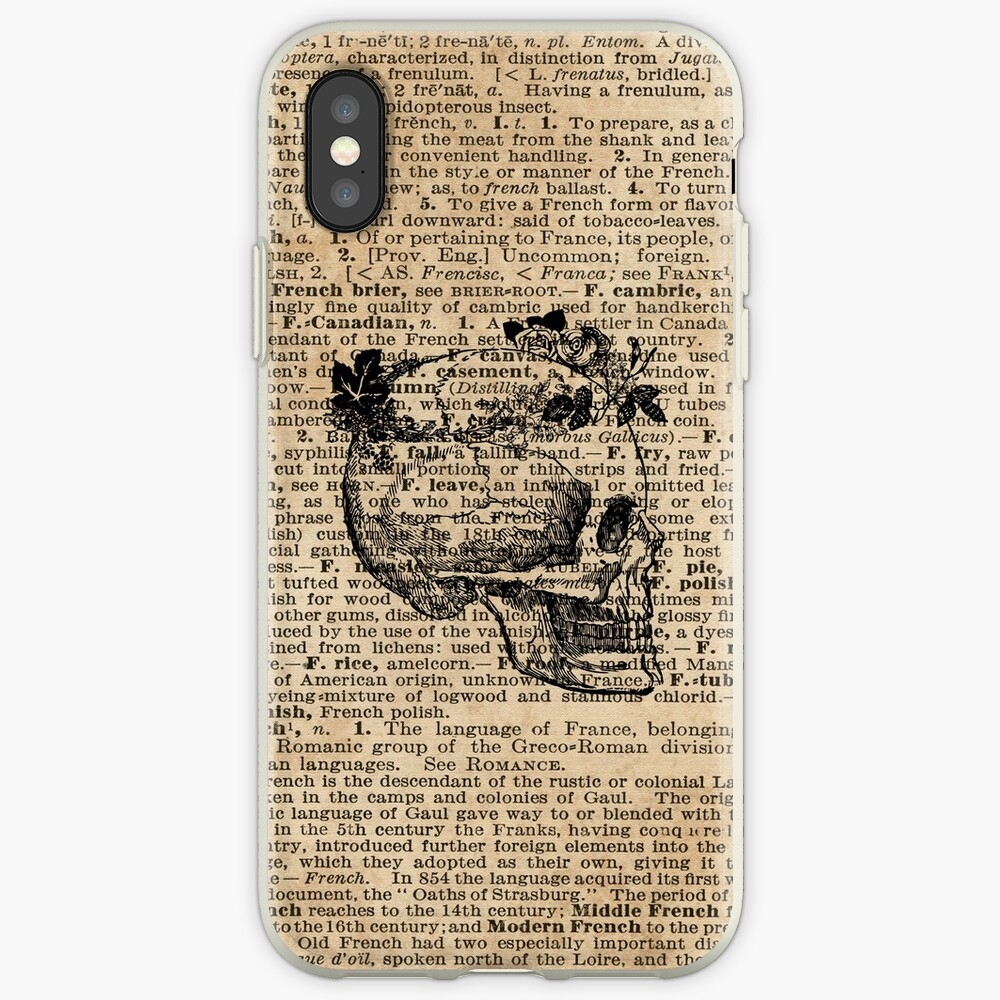 Skull in Floral Wreath Ink Drawing Dictionary Art iPhone Case & Cover